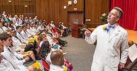 Professor teaching in an auditorium